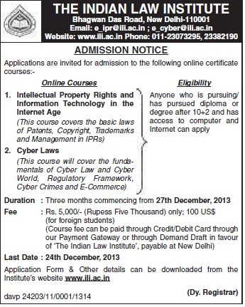 Certificate course in Cyber laws (Indian Law Institute)