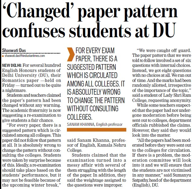 Changed paper pattern confuses students at DU (Delhi University)