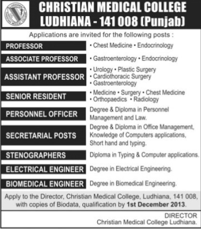 Asso Professor and Secretarial (Christian Medical College and Hospital (CMC))