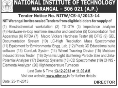 Supply of Electrochemical workstation (National Institute of Technology NIT)