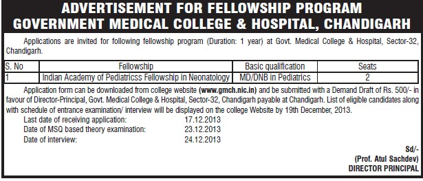 Fellowship program in Pediatricss (Government Medical College and Hospital (Sector 32))