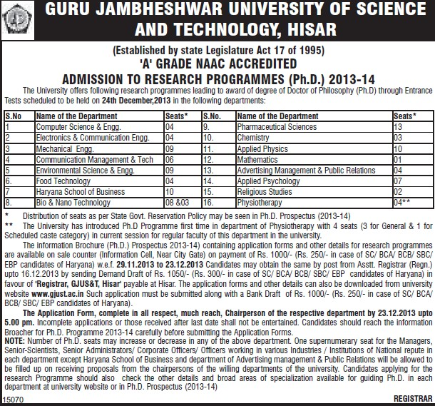 PhD in Research Programme (Guru Jambheshwar University of Science and Technology (GJUST))