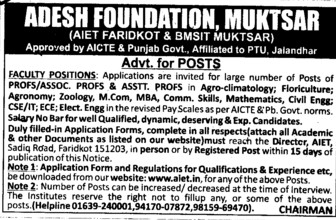 Asstt Professor for Agronomy (Adesh Group of Institutions)