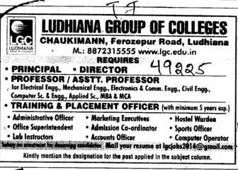 Training and Placement officer (Ludhiana Group of Colleges (LGC) Chowkimann)