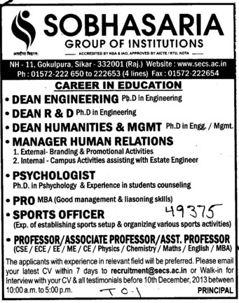 PRO, Sports Officer and Asstt Professor (Sobhasaria Group of Institution)
