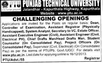 Estate Officer and Student Counsellor (Punjab Technical University PTU)