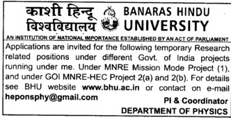 Research related position (Banaras Hindu University)