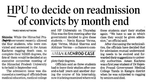 HPU decide on readmission of convicts by month end (Himachal Pradesh University)