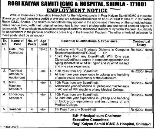 Technical Attendant and Sweeper (Indira Gandhi Medical College (IGMC))