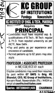 Principal and Asstt Professor (KC Group of Institutions)