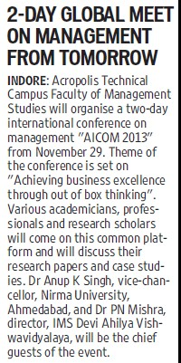 Two day Global meet on management from tomorrow (Nirma University)