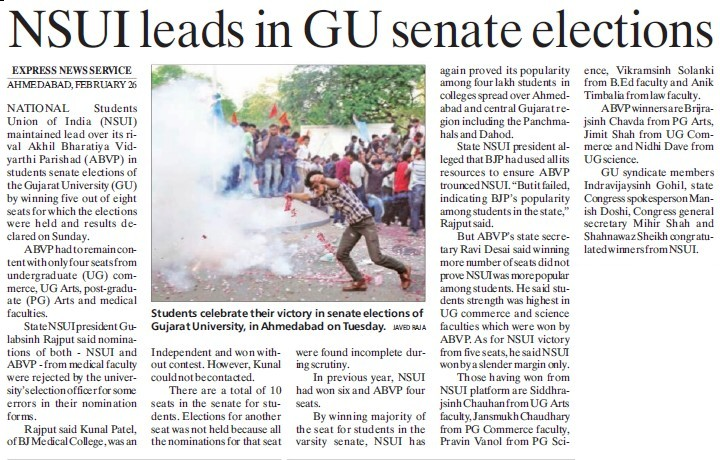 NSUI leads in GU senate elections (Gujarat University)