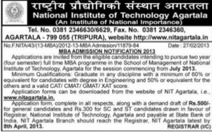 MBA Course (National Institute of Technology NIT)
