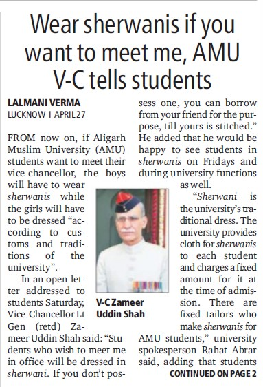 Wear Sherwanis if you want to meet me, VC (Aligarh Muslim University (AMU))