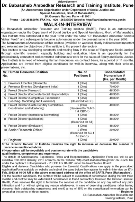 Project Director and Senior Research Officer (Dr Babasaheb Ambedkar Research and Training Institute)