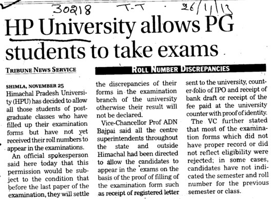 HPU allows PG students to take exams (Himachal Pradesh University)