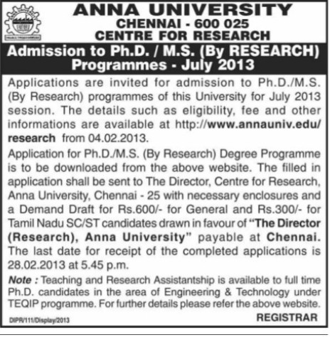 PhD and MS course (Anna University)