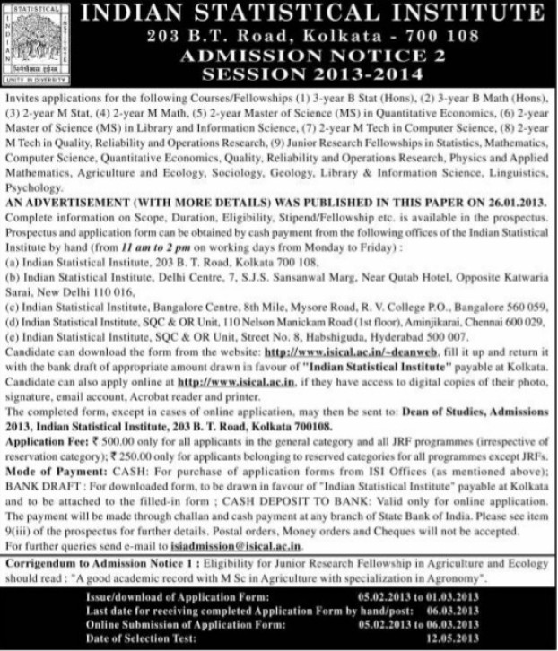 Fellowship Program in Information Science (Indian Statistical Institute)