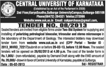 Installation of Trinocular and Stereo Microscope (Central University of Karnataka)