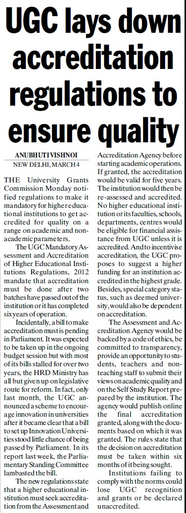UGC lays down accreditation regulations to ensure quality (University Grants Commission (UGC))