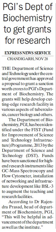 Biochemistry Dept get grants for research (Post-Graduate Institute of Medical Education and Research (PGIMER))