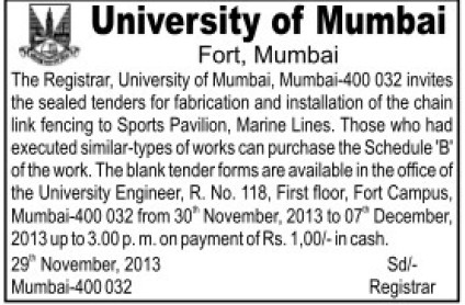 Installation of Marine Lines and Sports Pavillion (University of Mumbai (UoM))