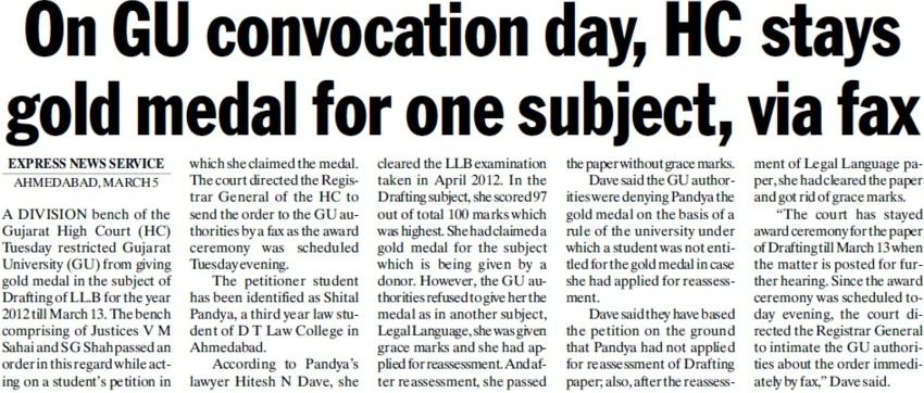HC stays gold medal for one subject, via fax (Gujarat University)