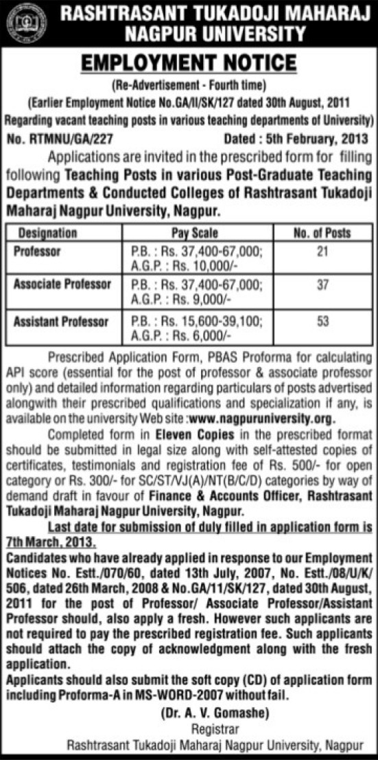 Asstt and Associate Professor (Rashtrasant Tukadoji Maharaj Nagpur University)