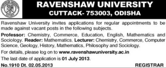 Reader and Lecturer (Ravenshaw University)