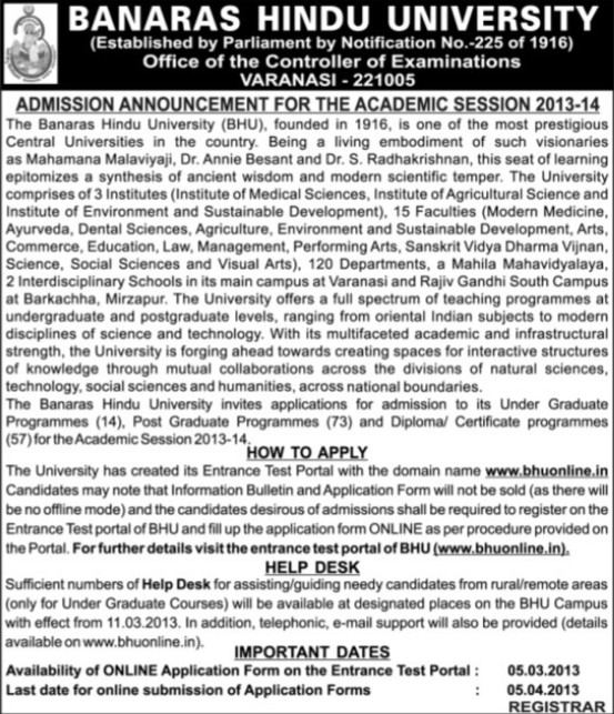Under Graduate courses (Banaras Hindu University)