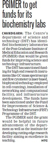 PGIMER get funds for Biochemistry labs (Post-Graduate Institute of Medical Education and Research (PGIMER))