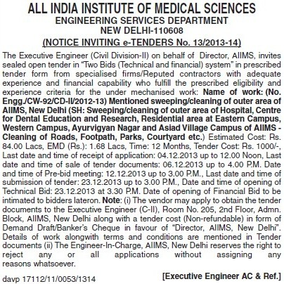 Sweeping and cleaning works (All India Institute of Medical Sciences (AIIMS))