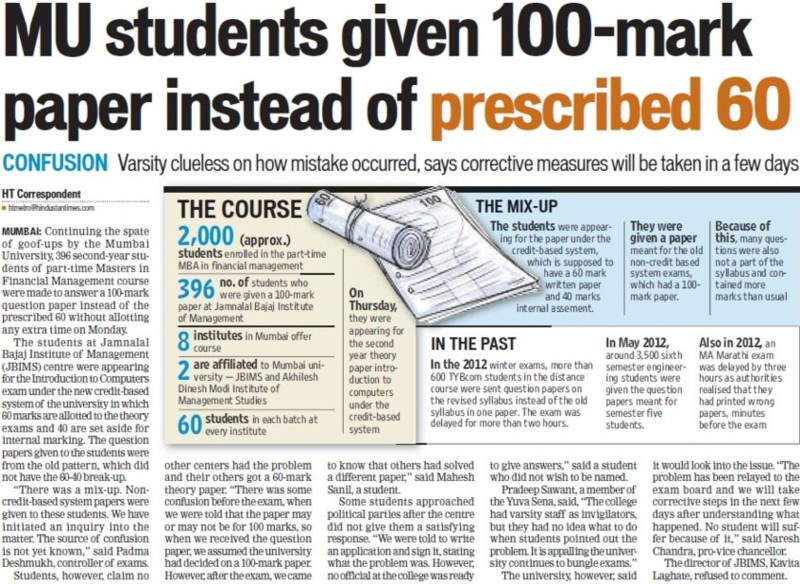 MU Students given 100 mark paper instead of prescribed 60 (University of Mumbai)