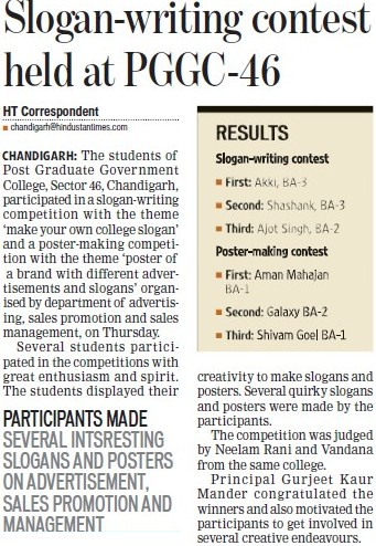 Slogan writing contest held at PGGC 46 (Post Graduate Government College, Co-Educational (Sector 46))