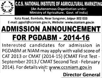 PGDABM 2014 (National Institute of Agricultural Marketing (NIAM))
