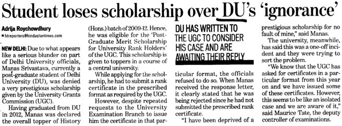 Student loses scholarship over DUs ignorance (Delhi University)