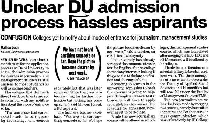 Unclear DU admissions process hassles aspirants (Delhi University)