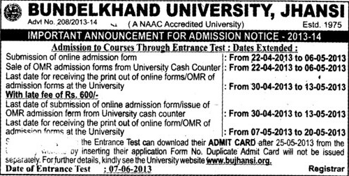 Courses through entrance test (Bundelkhand University)