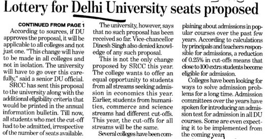 Lottery for DU seats proposed (Delhi University)