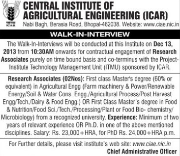 Research Associates (Indian Council of Agricultural Research (ICAR))