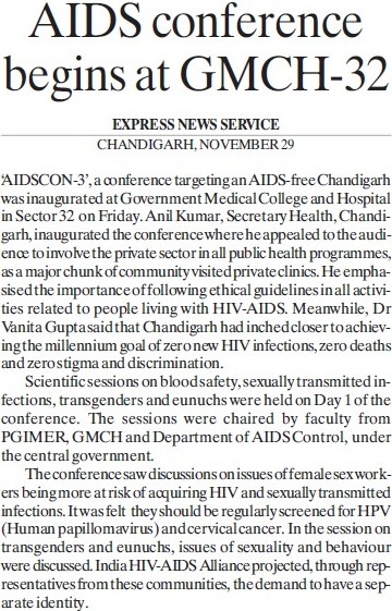 AIDS conference begins at GMCH 32 (Government Medical College and Hospital (Sector 32))