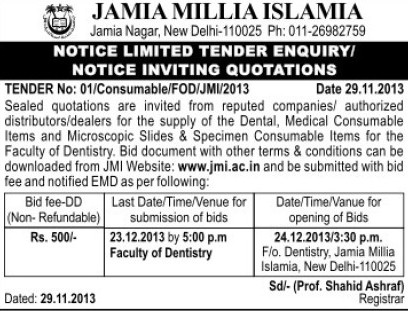 Supply of Dental items (Jamia Millia Islamia)
