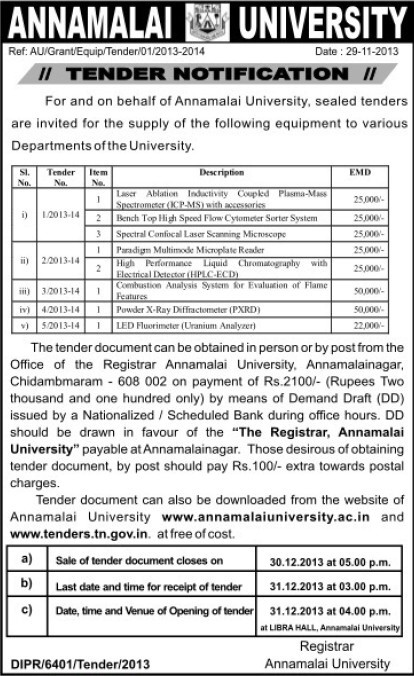 Supply of Combustion Analyzer System (Annamalai University)
