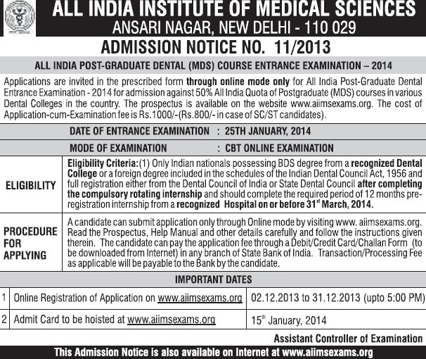 All India Post Graduate Dental Course Entrance Examination 2013 (All India Institute of Medical Sciences (AIIMS))