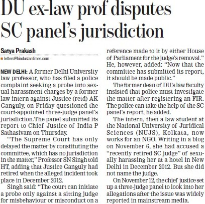 DU ex law prof disputes SC panels jurisdiction (Delhi University)