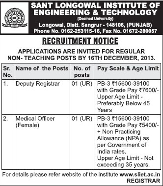 Medical Officer and Deputy Registrar (Sant Longowal Institute of Engineering and Technology SLIET)