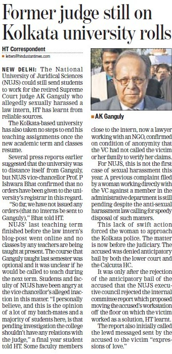 Former judge still on KU rolls (West Bengal National University of Juridical Sciences)