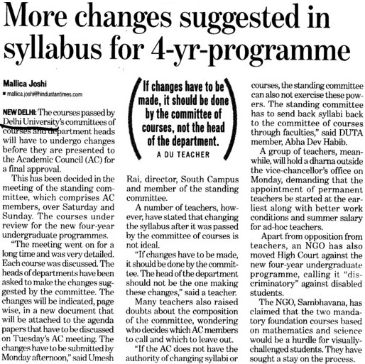 More changes suggested in syllabus for 4 years programme (Delhi University)