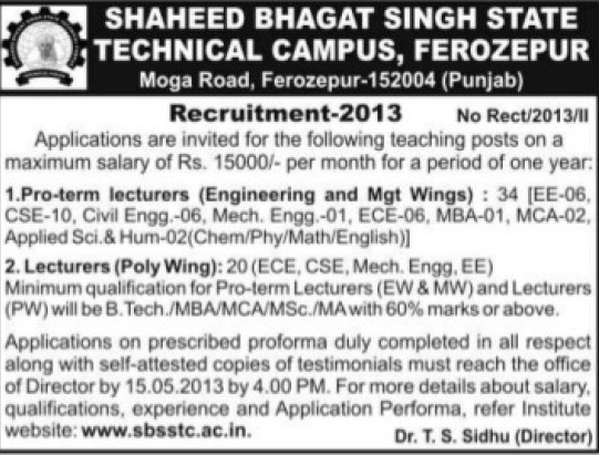 Pro term Lecturers (Shaheed Bhagat Singh State (SBBS) Technical Campus)
