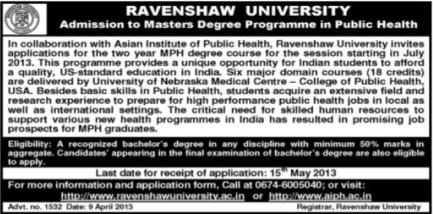 Master Degree Program in Public Health (Ravenshaw University)
